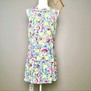 Vintage 90s Limited Floral Sleeveless Casual Dress